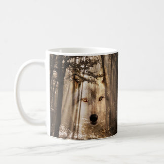 Eerie wolf face in the woods classic white coffee mug