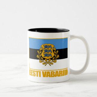 Eesti (Estonia) Flag & COA Two-Tone Coffee Mug