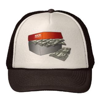 Efectivo de la caja de zapatos gorras de camionero