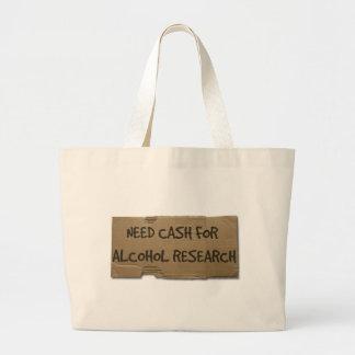 Efectivo de la necesidad para la investigación del bolsa tela grande