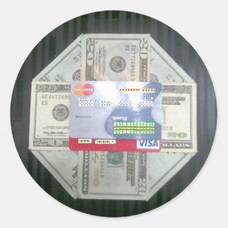 Efectivo y crédito pegatina redonda