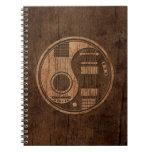 Efecto acústico de madera de Yin Yang de las guita Libros De Apuntes Con Espiral