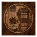 Efecto acústico de madera de Yin Yang de las guita Impresiones