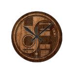 Efecto acústico de madera de Yin Yang de las guita Reloj