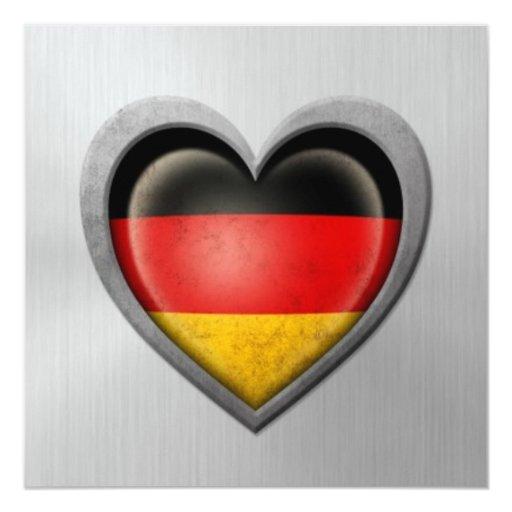 """Efecto alemán del acero inoxidable de la bandera invitación 5.25"""" x 5.25"""""""