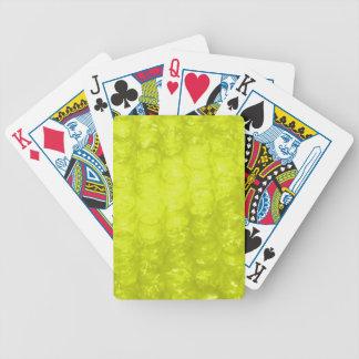 Efecto amarillo de oro del plástico de burbujas baraja de cartas