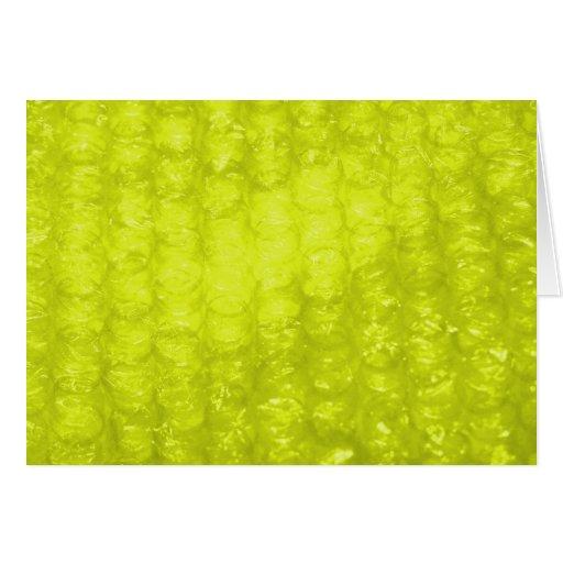 Efecto amarillo de oro del plástico de burbujas tarjeta de felicitación