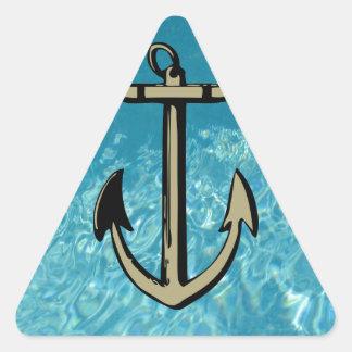 Efecto ausente del agua del ancla pegatina triangular