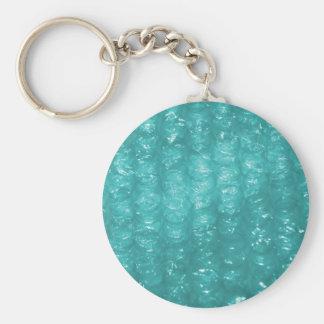 Efecto azul claro del plástico de burbujas llavero redondo tipo pin