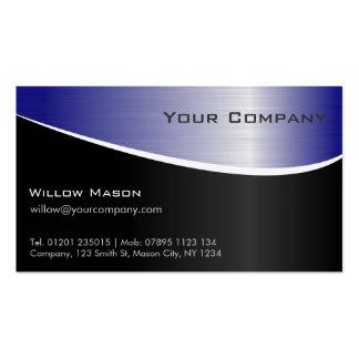 Efecto azul del acero inoxidable, tarjeta de tarjetas de visita