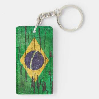 Efecto brasileño agrietado de la pintura de la llavero rectangular acrílico a doble cara
