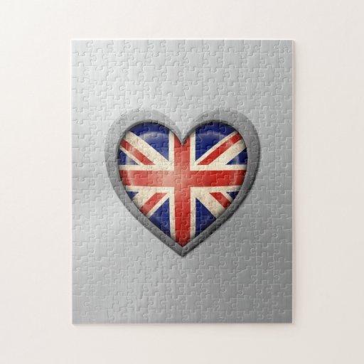 Efecto británico del acero inoxidable de la bander rompecabeza con fotos