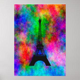 Efecto colorido del paño de París de la torre Eiff Impresiones
