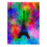 Efecto colorido del paño de París de la torre Eiff Postal