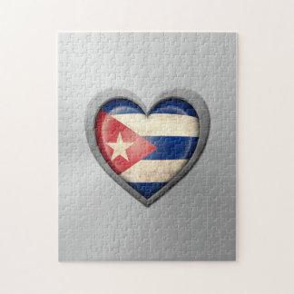 Efecto cubano del acero inoxidable de la bandera d rompecabeza con fotos