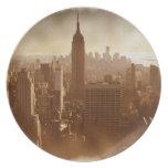 Efecto dañado Nueva York de la foto Plato De Cena