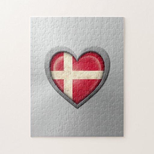 Efecto danés del acero inoxidable de la bandera de rompecabeza