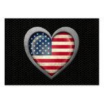 Efecto de acero de la malla de la bandera american plantillas de tarjetas personales