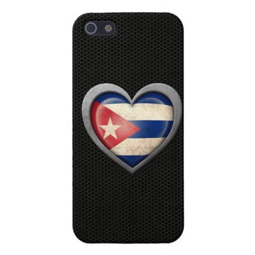 Efecto de acero de la malla de la bandera cubana d iPhone 5 fundas