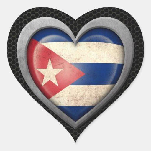 Efecto de acero de la malla de la bandera cubana pegatina corazón personalizadas