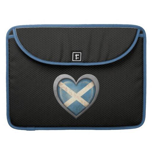Efecto de acero de la malla de la bandera escocesa fundas para macbook pro