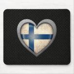 Efecto de acero de la malla de la bandera finlande alfombrillas de ratón