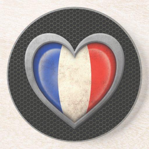 Efecto de acero de la malla de la bandera francesa posavasos para bebidas