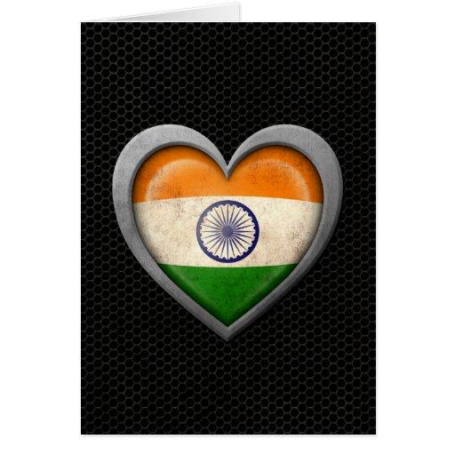 Efecto de acero de la malla de la bandera india de tarjeta de felicitación