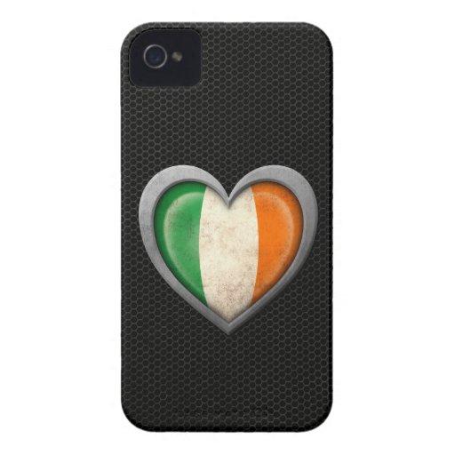 Efecto de acero de la malla de la bandera irlandes iPhone 4 carcasa