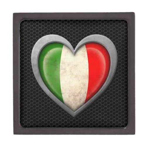 Efecto de acero de la malla de la bandera italiana caja de recuerdo de calidad