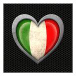 Efecto de acero de la malla de la bandera italiana anuncio personalizado