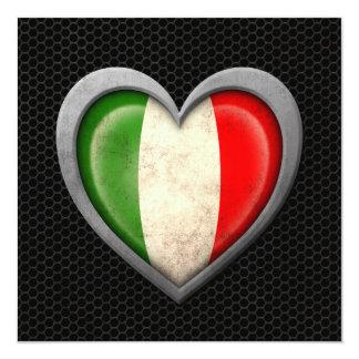 """Efecto de acero de la malla de la bandera italiana invitación 5.25"""" x 5.25"""""""