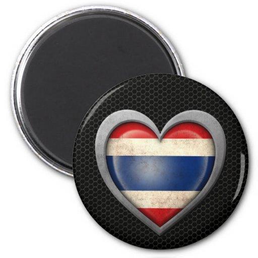 Efecto de acero de la malla de la bandera tailande imán redondo 5 cm