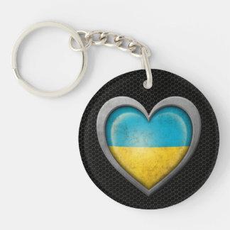 Efecto de acero de la malla de la bandera ucranian llavero redondo acrílico a doble cara
