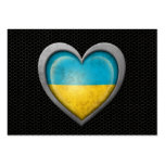 Efecto de acero de la malla de la bandera ucranian tarjeta de visita