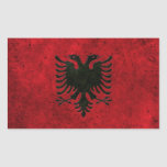 Efecto de acero envejecido bandera albanesa rectangular pegatina