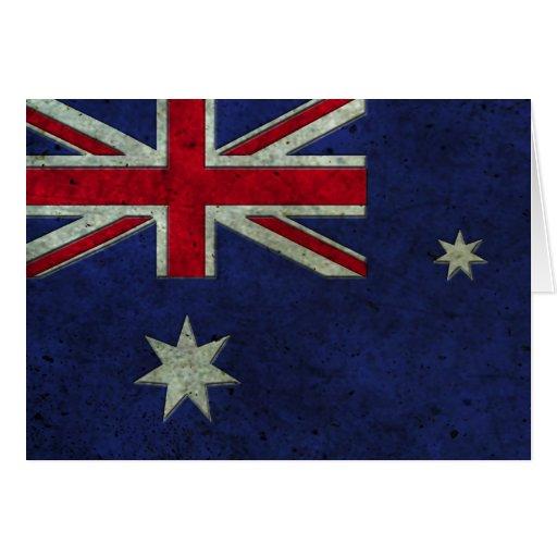 Efecto de acero envejecido bandera australiana tarjeton