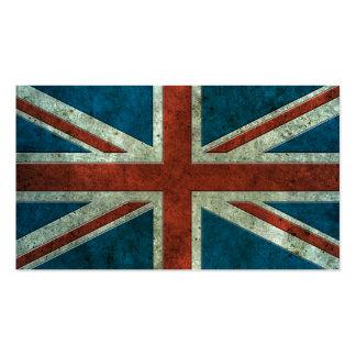 Efecto de acero envejecido bandera británica tarjetas de negocios
