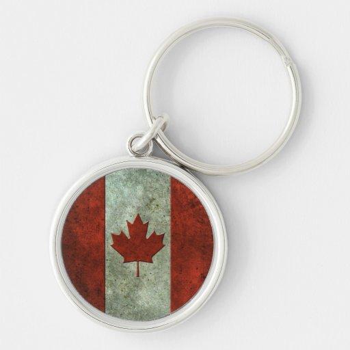 Efecto de acero envejecido bandera canadiense llavero redondo plateado