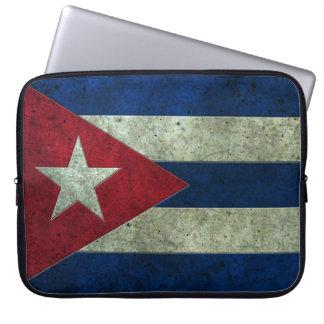 Efecto de acero envejecido bandera cubana fundas portátiles