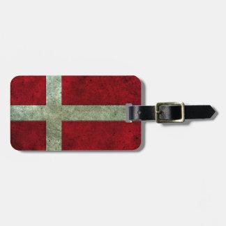 Efecto de acero envejecido bandera danesa etiquetas bolsas