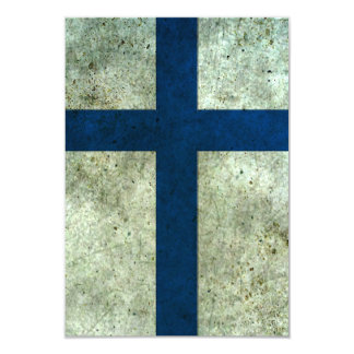 """Efecto de acero envejecido bandera finlandesa invitación 3.5"""" x 5"""""""