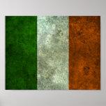 Efecto de acero envejecido bandera irlandesa poster