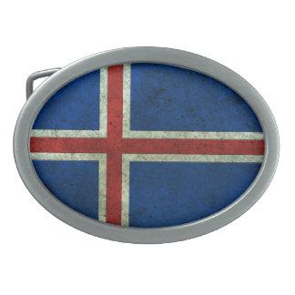 Efecto de acero envejecido bandera islandesa hebillas cinturon ovales