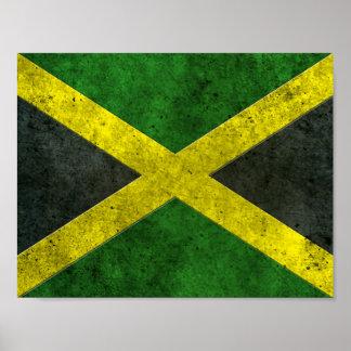 Efecto de acero envejecido bandera jamaicana poster