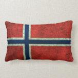 Efecto de acero envejecido bandera noruega almohadas