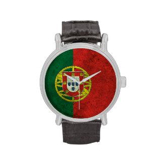 Efecto de acero envejecido bandera portuguesa relojes de mano