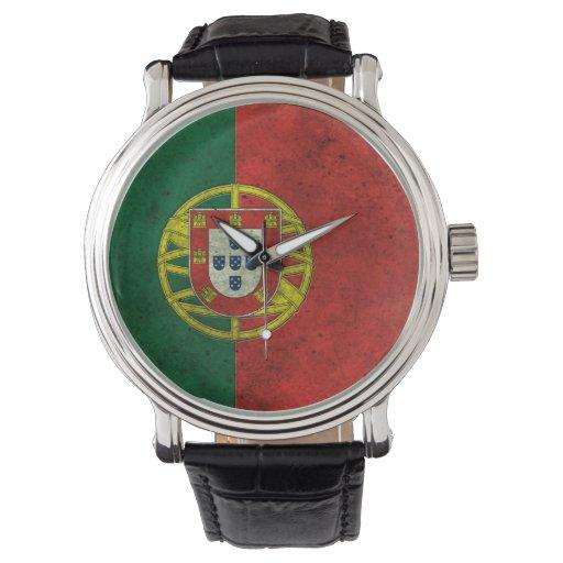 Efecto de acero envejecido bandera portuguesa relojes