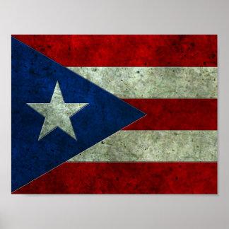 Efecto de acero envejecido bandera puertorriqueña póster