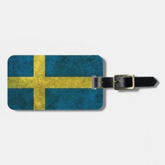 Efecto de acero envejecido bandera sueca etiquetas bolsas